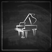 stock photo of grand piano  - vintage illustration with the grand piano on blackboard background - JPG
