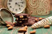Chocolate, Sifter, Almonds And Clock