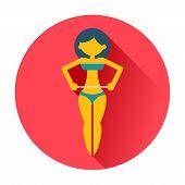 girl measures a waist icon