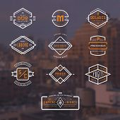 set of 10 stylish line insignias over a blurred NY background