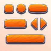 Set of cartoon orange stone buttons