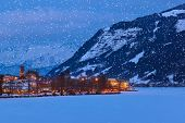 Mountains ski resort Zell am See Austria - nature and architecture background