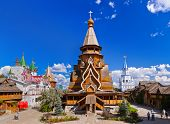 Wooden church in Izmailovo Kremlin - Moscow Russian - architecture background