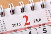 Macro Chinese Calendar 2015 - February with Chinese number word