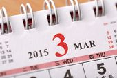 Macro Chinese Calendar 2015 - March with Chinese number word