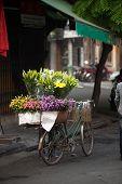 Flower street vendors in Hanoi city,Vietnam.