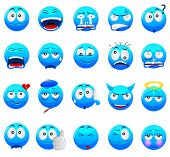 foto of emoticons  - 20 Expression blue emoticon with variation expression - JPG