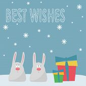 Funny Winter Holidays Card Background With Cute Cartoon Rabbits, Gifts, Snowflakes And Hand-drawing
