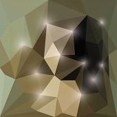 Abstract dark bright shining polygonal triangular background with glaring lights for use in design