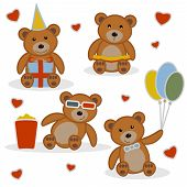 Four Funny Cartoon Bear Cubs