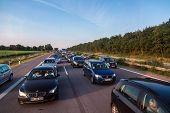 Traffic Jam On A Freeway In Denmark