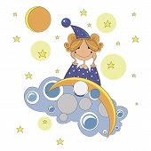 stock photo of pajamas  - little girl in pajamas and with a hood on her head sitting on a cloud at night and dreams - JPG