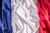 French national flag made up of three colorful satin fabric