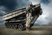 pic of soldier  - Military tank and soldier outdoors - JPG