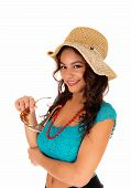 Pretty Girl With Straw Hat.
