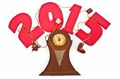 2015 the new  on a white background and clock