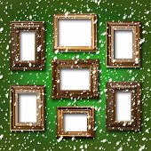 Gilded Wooden Frames For Pictures On Abstract Blue Background