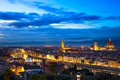 Florence Or Firenze Sunset Aerial Cityscape. Panorama View From Michelangelo Park
