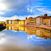 Pisa, Arno River And Buildings Reflection. Lungarno View. Tuscany, Italy