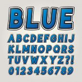 Blue Comic Sticker Alphabet And Numbers, Editable Eps10 Vector