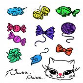 Set of cat`s toys. Colorful icons