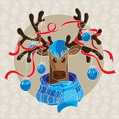 foto of antlers  - Christmas card with reindeer in scarf and decorated antlers - JPG