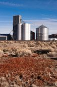 Agricultural Silo Farm Railroad Tracks Grain Elevator Food Grain Storage