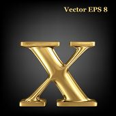 Golden shining metallic 3D symbol lowercase letter x, vector EPS8