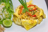 Plate Of Pad Thai Or Phat Thai In Omelette