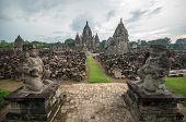 pic of building relief  - Prambanan temple on cloudy day in Yogyakarta Java island Indonesia - JPG