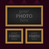 Set of 3 vector photo frames
