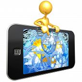 Gold Guy With Touch Screen Mobile Device Weather Report poster
