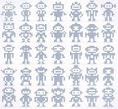 Set Of Different Pixel Robots