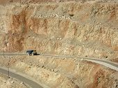 stock photo of flux  - Industrial background - mining truck in Pilaroscia career fluxing limestone in Balaklava Crimea Russia