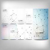 Big banners set, science backgrounds, molecule and communication backgrounds. Conceptual vector desi