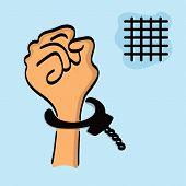One drawing of a hand in the handcuffs isolated on a blue background with a lattice.