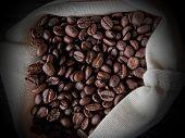 Coffee Beans In A White Canvas Bag
