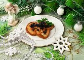 Fish Fritters With Caviar And Christmas Decor