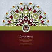 Vector Card With Round Floral Pattern And Ribbon.