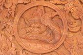 stock photo of chinese zodiac animals  - Wood carving of snake Chinese zodiac animal sign - JPG