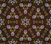 Seamless Background With Floral Symmetrical Elements  On Dark Background