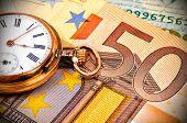 Watch And Euro Bills