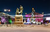 The Main City Square With New Year's Illumination. Russia. The City Of Nizhny Tagil