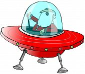 Santa in a flying saucer