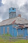 The Destroyed House And Watchtower. Solovki Islands, Russia