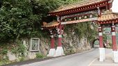 TAROKO, TAIWAN - DECEMBER 2nd : Famous Chinese style entrance building at the starting point of East-West Cross-Island way on November 2nd, 2014 in Taipei, Taiwan.