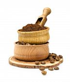 Ground Coffee In A Wooden Bowl