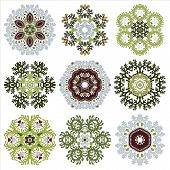 Vector Set Of Nine Floral Circular Design Elements Isolated On White Background