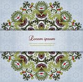 Vector Card With Round Floral Pattern.