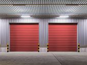 picture of red siding  - Shutter door or rolling door red color night scene - JPG